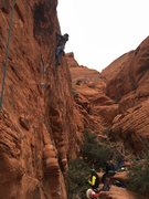 Rock Climbing Photo: Leading haunted hooks in the cold .