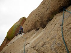 Rock Climbing Photo: Julie beginning the traverse on Pitch 3. There is ...