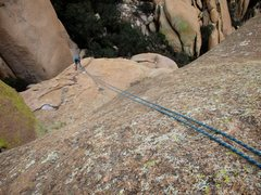 Rock Climbing Photo: Looking down the first of two single-rope rappels ...