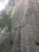 Rock Climbing Photo: Yama-Shama. Red circles - bolts