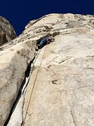 Rock Climbing Photo: Myles Moser leading P2 of Forbidden Fruit