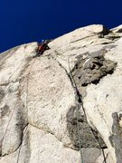 Rock Climbing Photo: Amy Ness leading the long and splitter P3 of Forbi...