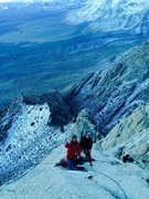Rock Climbing Photo: Just below the summit block, the Dream Team gives ...