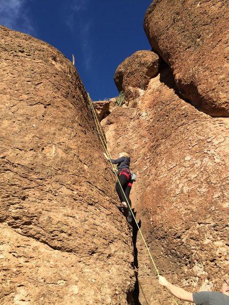 Rock Climbing Photo: Karolina working up.