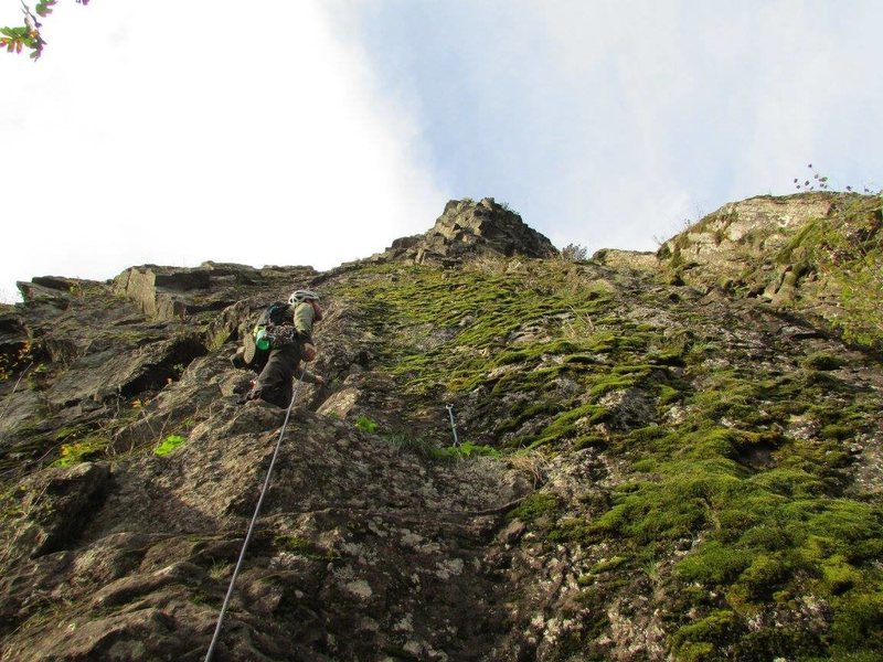 Rock Climbing Photo: Adam Snyder leading the first pitch. The line goes...