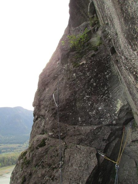 This is the big belay ledge at the top of the 3rd pitch. As the description says, you'll need to build an anchor here.