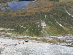 Rock Climbing Photo: Looking down pitch 6