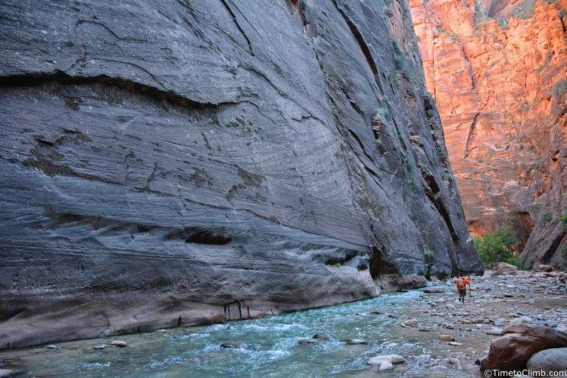 The Zion Narrows - http://www.timetoclimb.com/hiking/exploring-zion-narrows/
