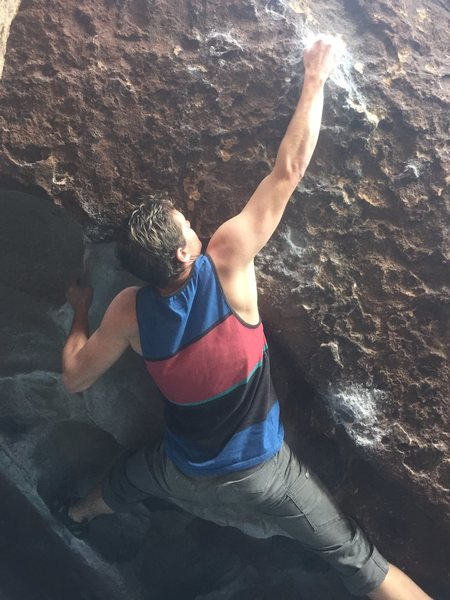 Rock Climbing Photo: Sending using the wide feet beta for the big move