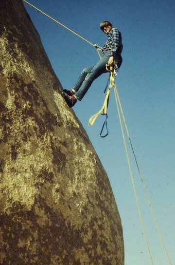Learning aid and rappelling on Ryan's pillar, 1971.