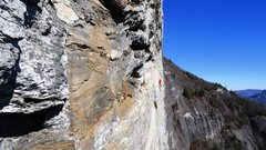 Rock Climbing Photo: Climber on p4 I believe, as seen from Warriors