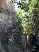 Rock Climbing Photo: Kyle traversing to the first bolt
