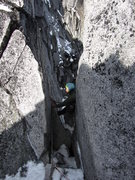Rock Climbing Photo: Me at the rap station after the crux pitch