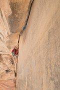 Rock Climbing Photo: J.Burcham following on the Mini-Pillar
