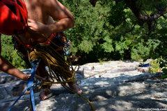 Rock Climbing Photo: Matt belaying Kevin on the 2nd pitch of Rusty Trif...