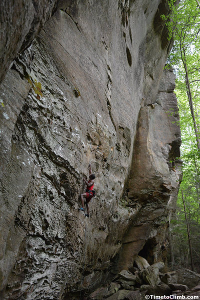 Climber on KSB in the Red River Gorge
