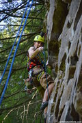 Rock Climbing Photo: Zach Adamczyk going for the clip while climbing Ge...