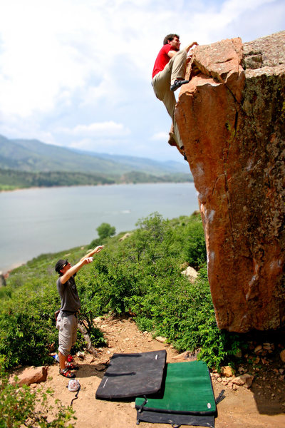 Rock Climbing Photo: Topping out on Eliminator Boulder.