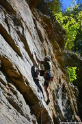 Rock Climbing Photo: Nicholas Hernandez clipping in the rope while clim...