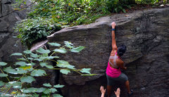 Rock Climbing Photo: Ann Marie bouldering at Nine corners lake in Adiro...
