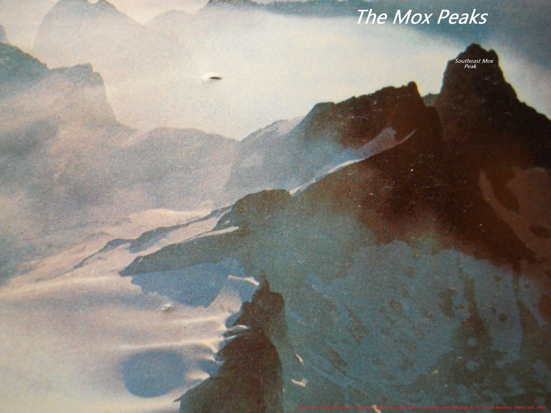 called The Twin Spires by Fred and Helmy Beckey.  Now called Mox Peaks.<br> <br> photo by Robert Gunning 1964