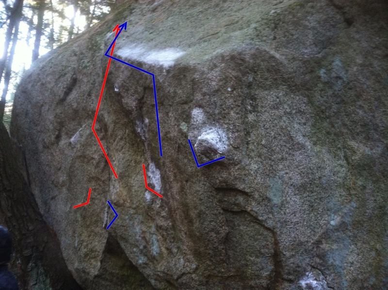 Knuckle Dragger V4 (blue) and Bloody Knuckles V5 (red). The Very Bad Idea is around the right corner and uses the right start hold of Knuckle Dragger as its left start hold.