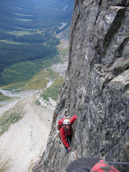 Mike Layton on the first ascent.<br> <br> photo by MisterE  2005
