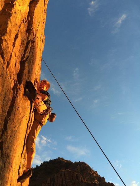 Rock Climbing Photo: Sun set climb to clean a lead