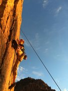 Rock Climbing Photo: Sun set climb to clean a lead