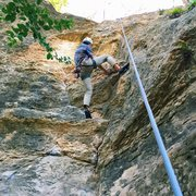 Rock Climbing Photo: Headed up to clean a top rope after leading on How...