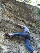 Rock Climbing Photo: Partner working out the lower crux of Narthex (5.1...