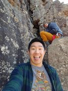 Rock Climbing Photo: My friend's selfie, but me way up on Swamp Rat. It...