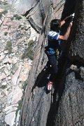 "Rock Climbing Photo: Marc Hill further up ""Squealer"" (5.10b)"