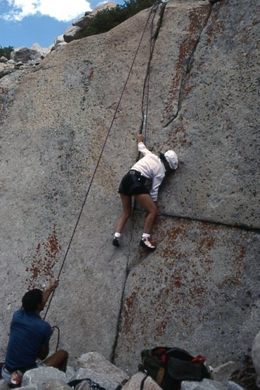 """Michelle Franco belayed by Marc Hill TRs """"One Crack Below"""" (5.10a)"""