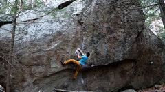 Rock Climbing Photo: Getting through the crux