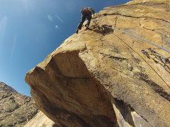 Rock Climbing Photo: Tim leading 11a pitch. Triton Tower
