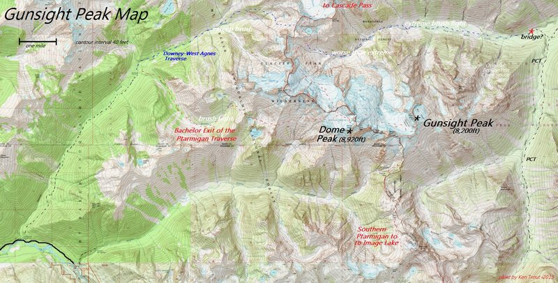 Rock Climbing Photo: Gunsight-Dome Peak Map