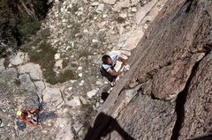 """Rock Climbing Photo: Marc Hill on the first few moves of """"Squealer..."""