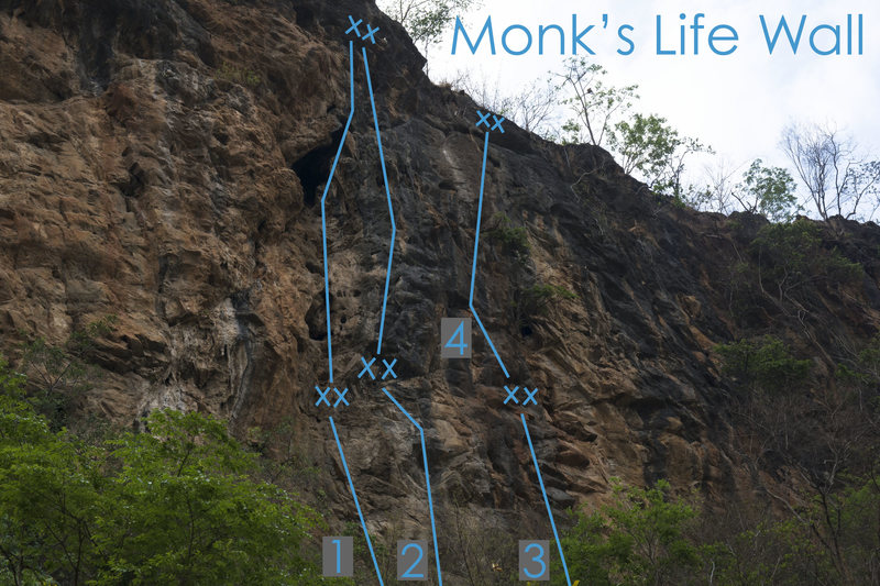 Monk's Life Wall topo:<br> 1: 3 Bros <br> 2: Homage Project<br> 3: Slingshot Monkey<br> 4: Slingshot Monkey Extension Project<br>