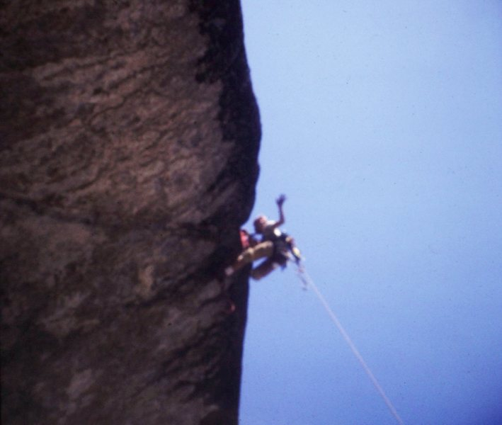 Rock Climbing Photo: Leading Bishop's Balcony, Yosemite.