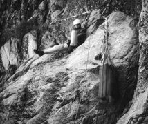 Rock Climbing Photo: On Half Dome, NW Face Route, June, 1973.