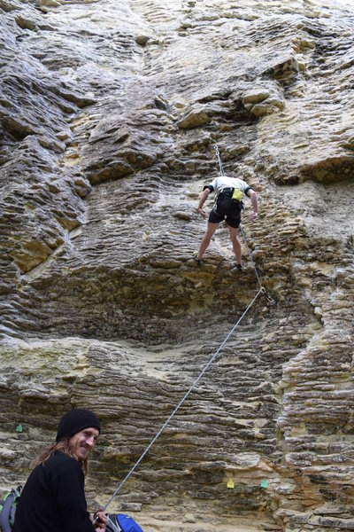 Rock Climbing Photo: Tom having some type 2 fun on his first lead of Tr...
