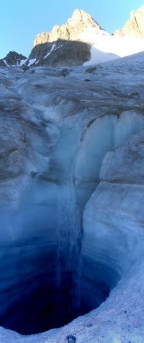 Stream disappears into a moulin on the Dinwoody Glacier