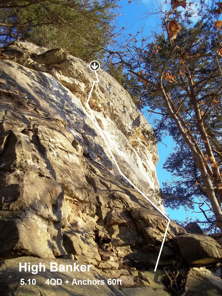 Rock Climbing Photo: High Banker follows a line that mantle the upper l...