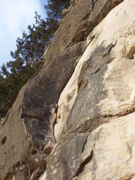Rock Climbing Photo: Moon shaped, trad protected, layback crack