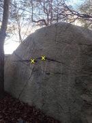 Rock Climbing Photo: Beta photo: Xs mark the start.