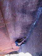 Rock Climbing Photo: Shino on the upper layback section. Locker fingers...