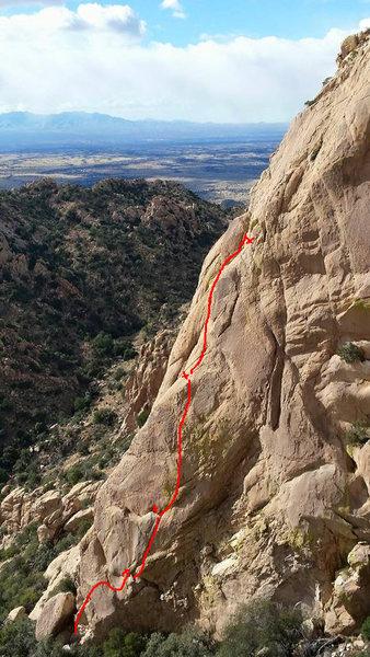 Route line of Muttonhead SE Arete.
