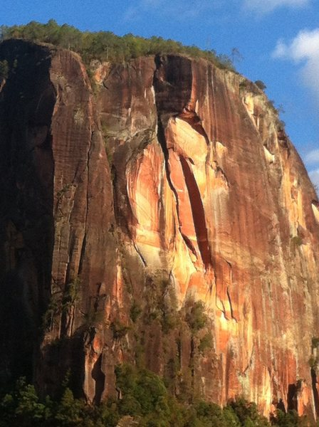 Rock Climbing Photo: The line. The Lost World is visible on the left bu...