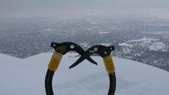 Rock Climbing Photo: My Ice tools atop the big flake on First Flatiron ...